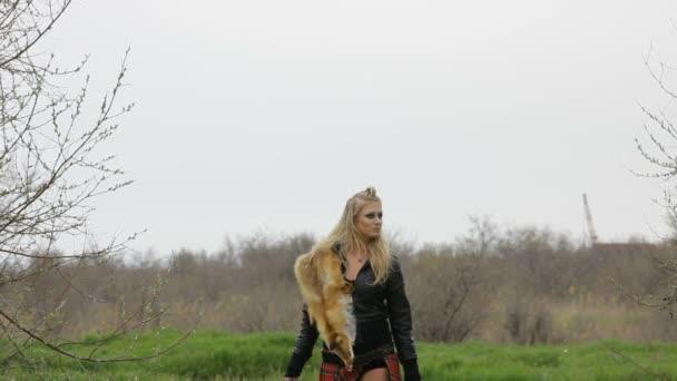 Young Sexy Woman Walking At Park