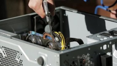 Computer power supply repair. Pouted, unsuitable capacitor. — Stock ...