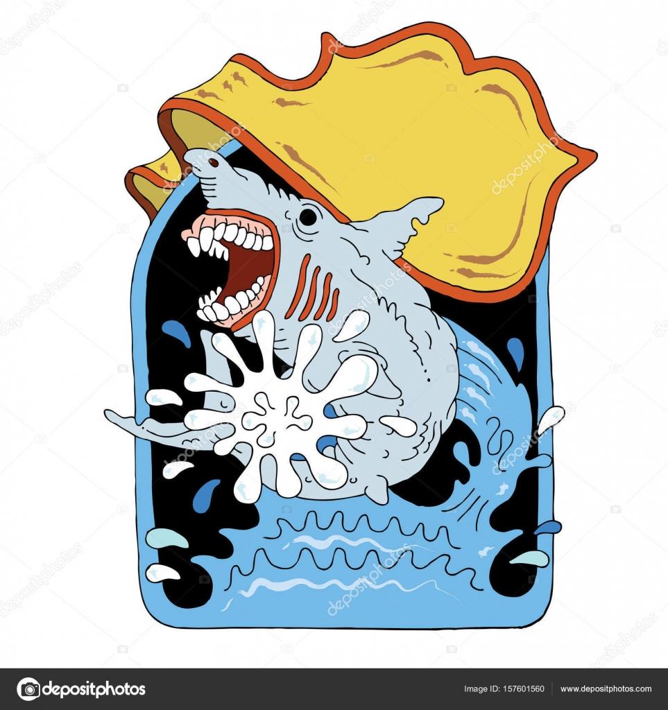 Shark jumping out of ocean — Stock Vector © vonDuck #157601560