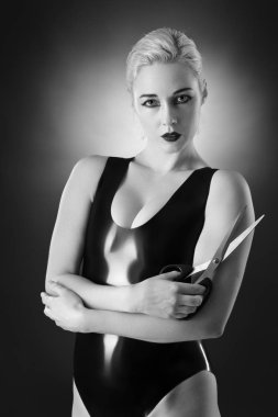 woman wearing latex