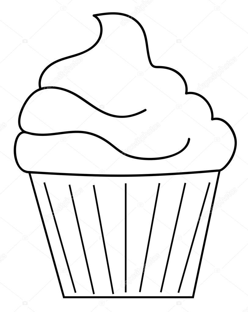 Cupcake Coloring Page Stock Vector C Keeweegirl 127736572
