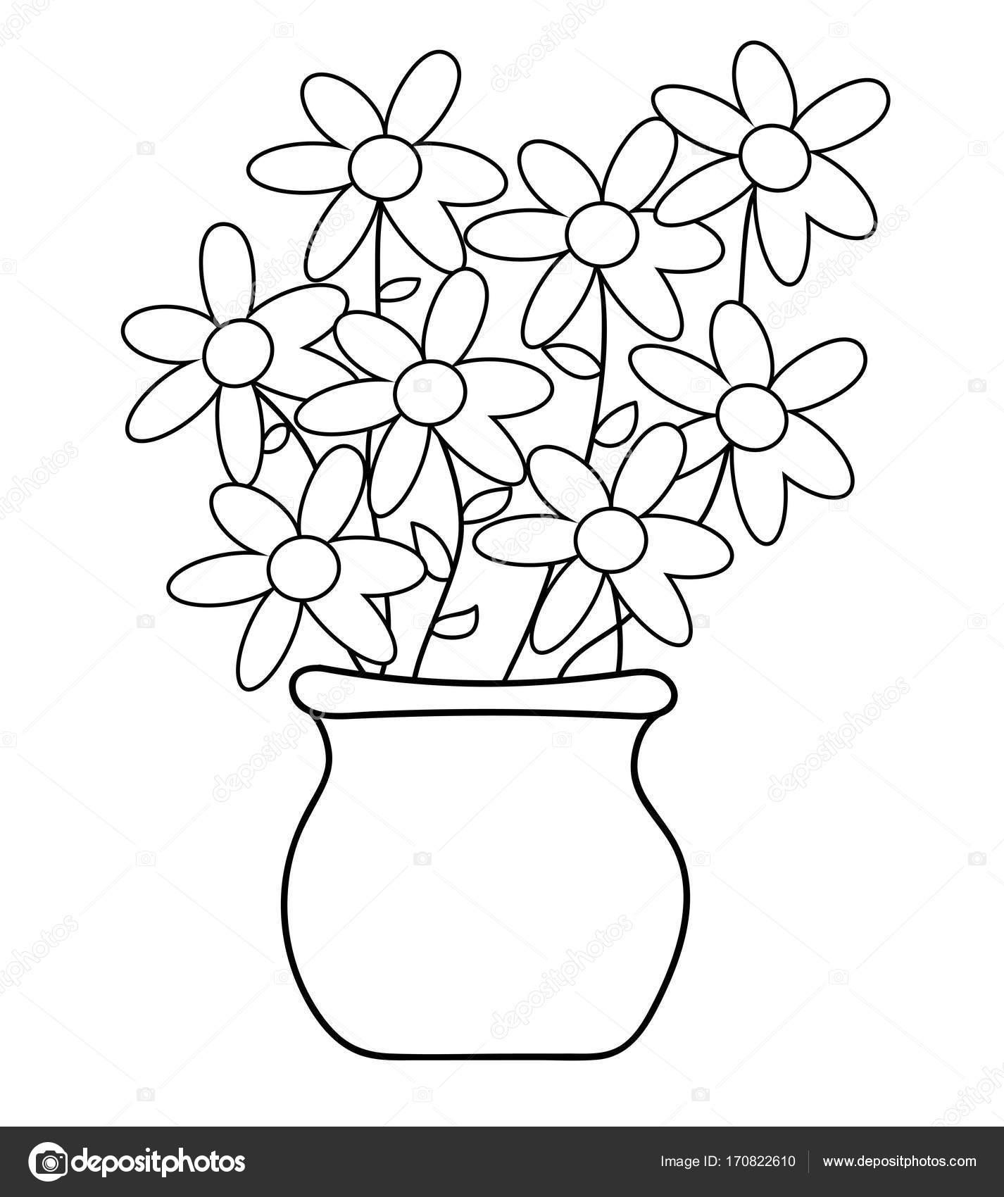 Coloriage Fleur Pot.Coloriage De Fleur Pot Image Vectorielle Keeweegirl C 170822610