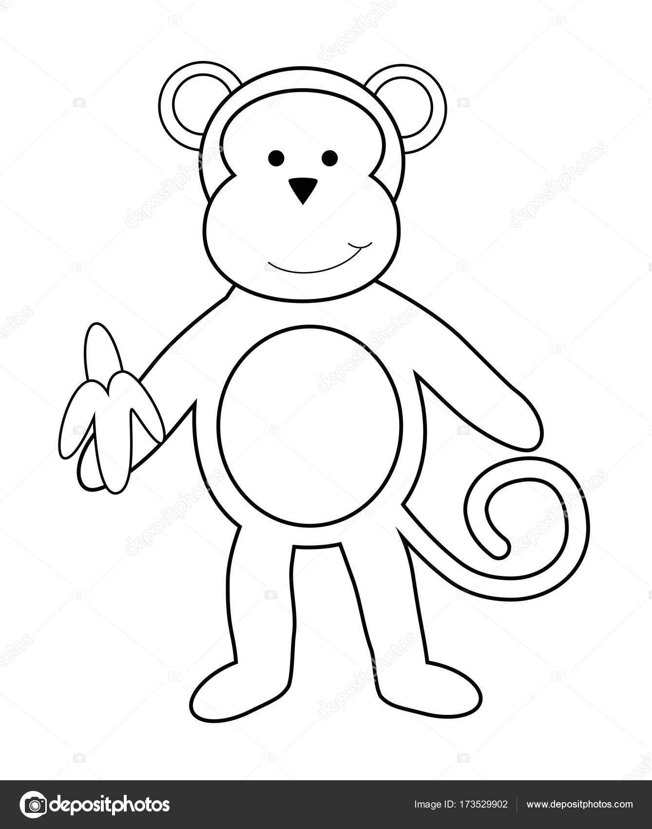 monkey with banana coloring page stock vector keeweegirl 173529902