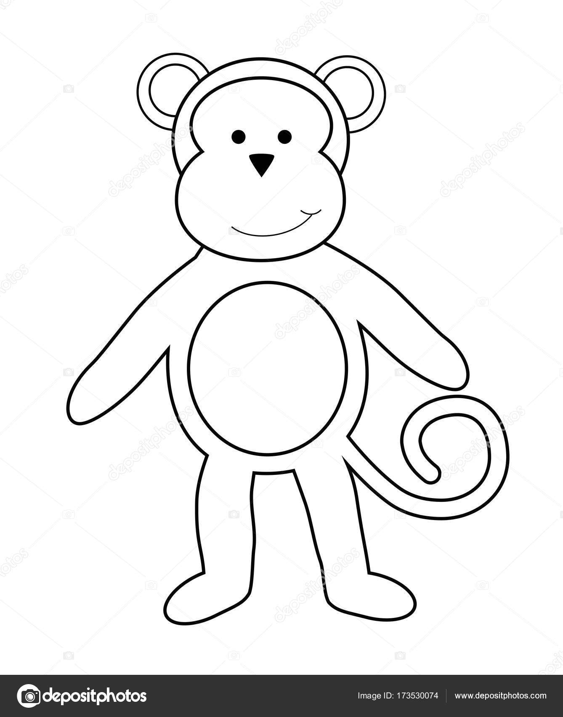 Página para colorear de mono — Archivo Imágenes Vectoriales ...