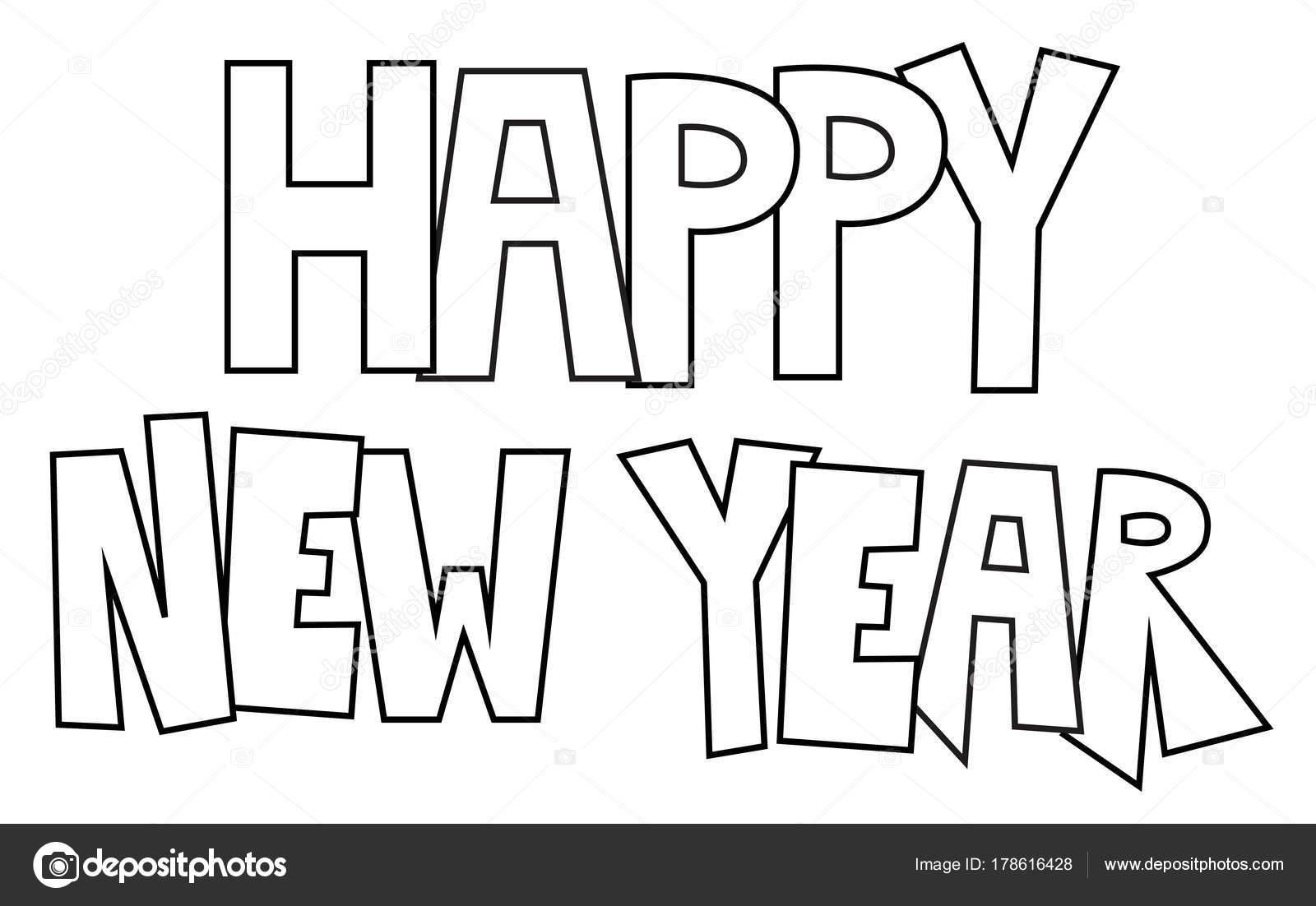 Mutlu Yeni Yıl Boyama Sayfası Stok Vektör Keeweegirl 178616428