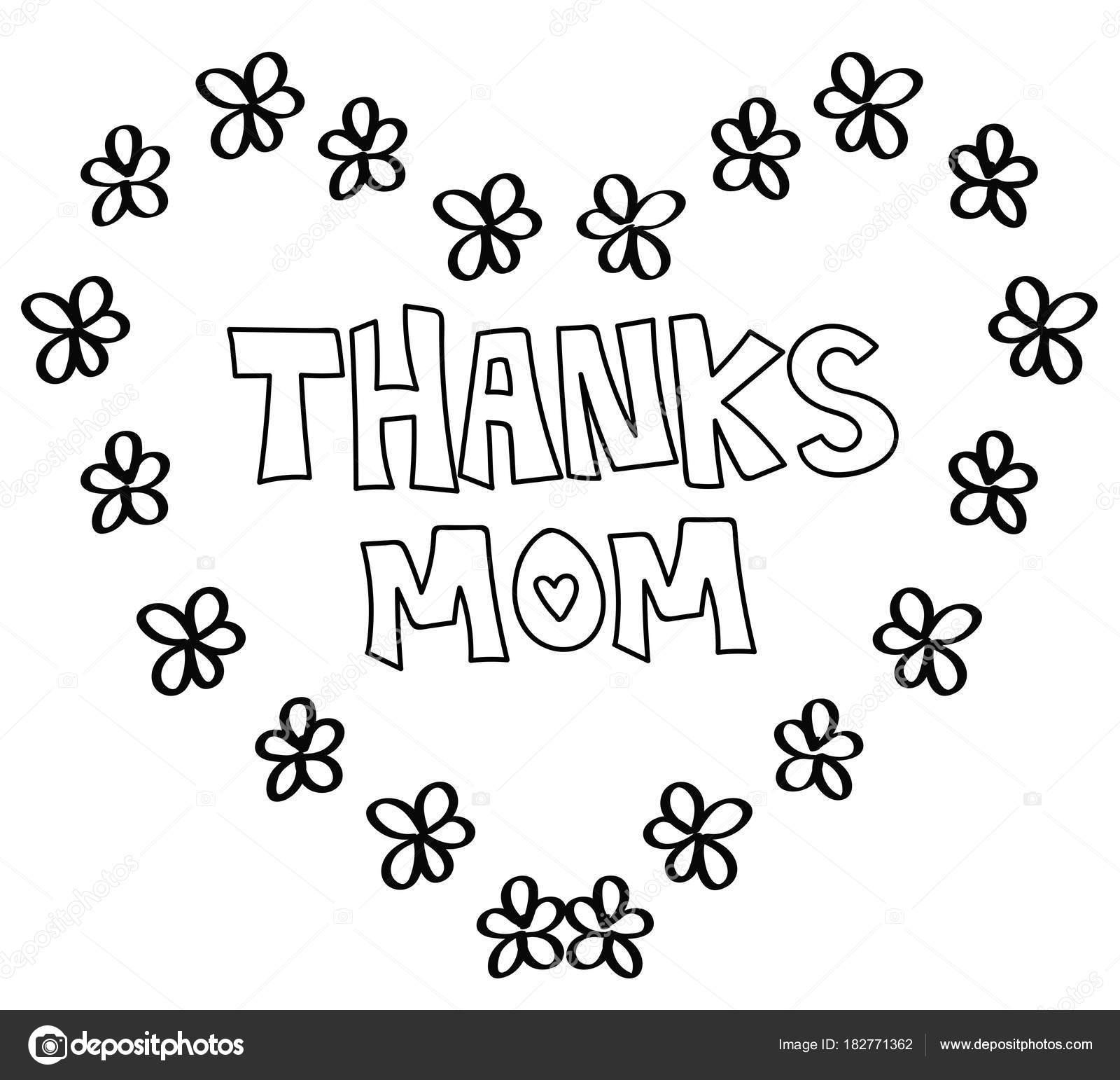 Gracias Mamá corazón página para colorear — Archivo Imágenes ...