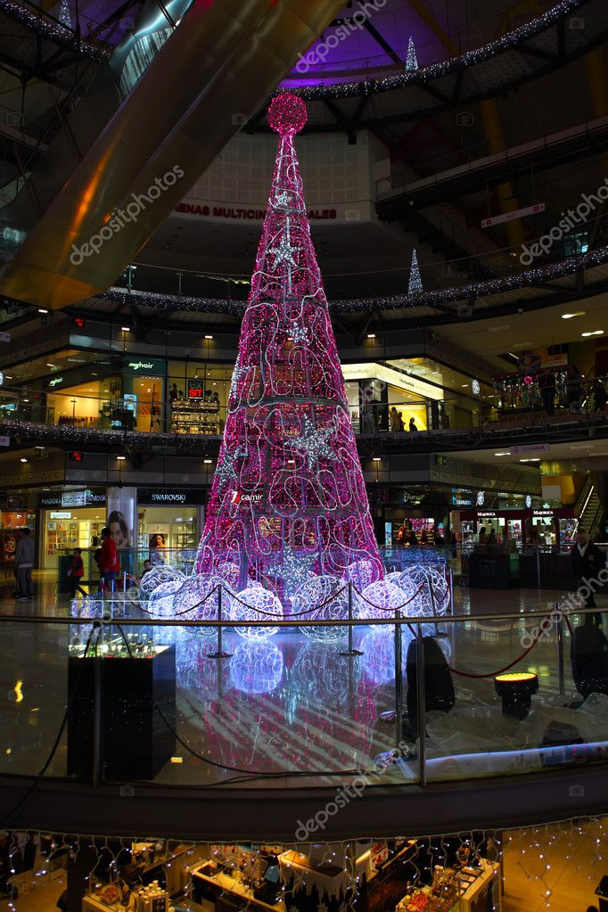 Christmas In Barcelona Spain.Christmas Tree In The Arena Shopping Mall Barcelona Spain