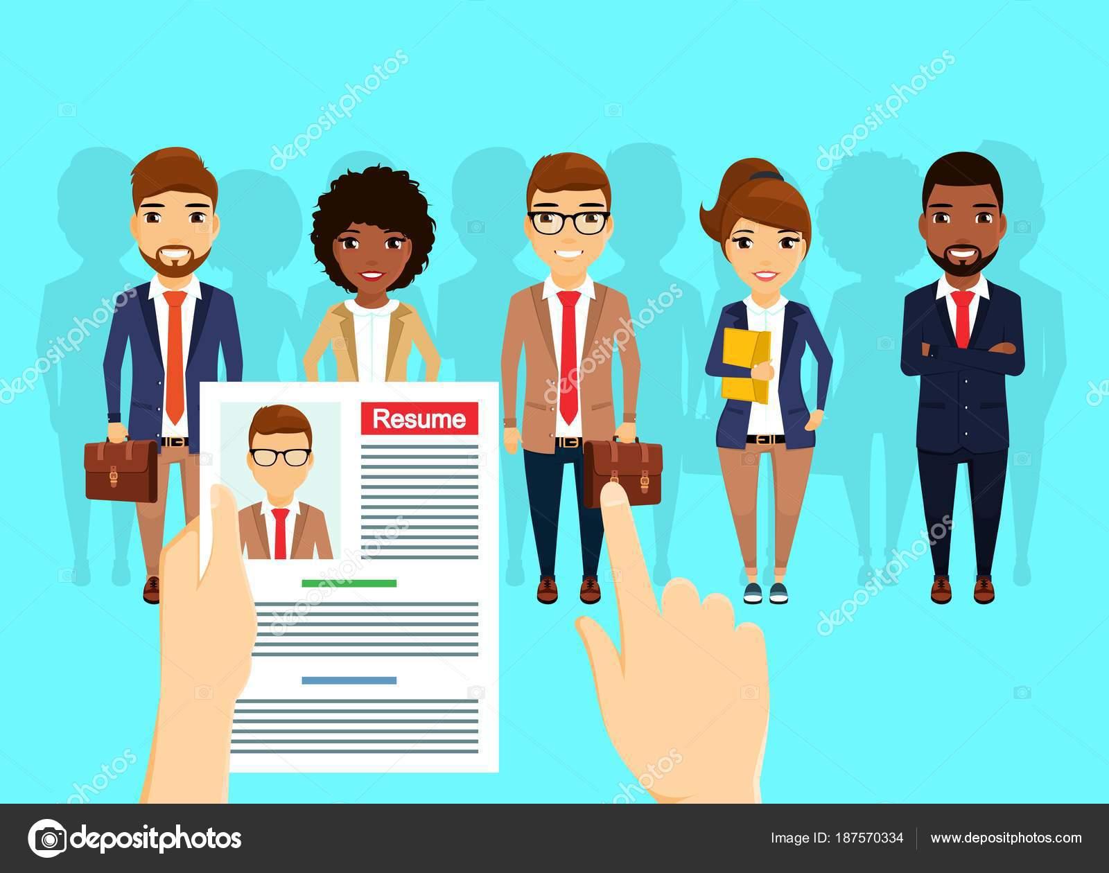 970c0bfe792 Concepto de negocio. Búsqueda y alquiler de personal. Un grupo de personas  de diferentes nacionalidades están buscando trabajo. Joven profesional.