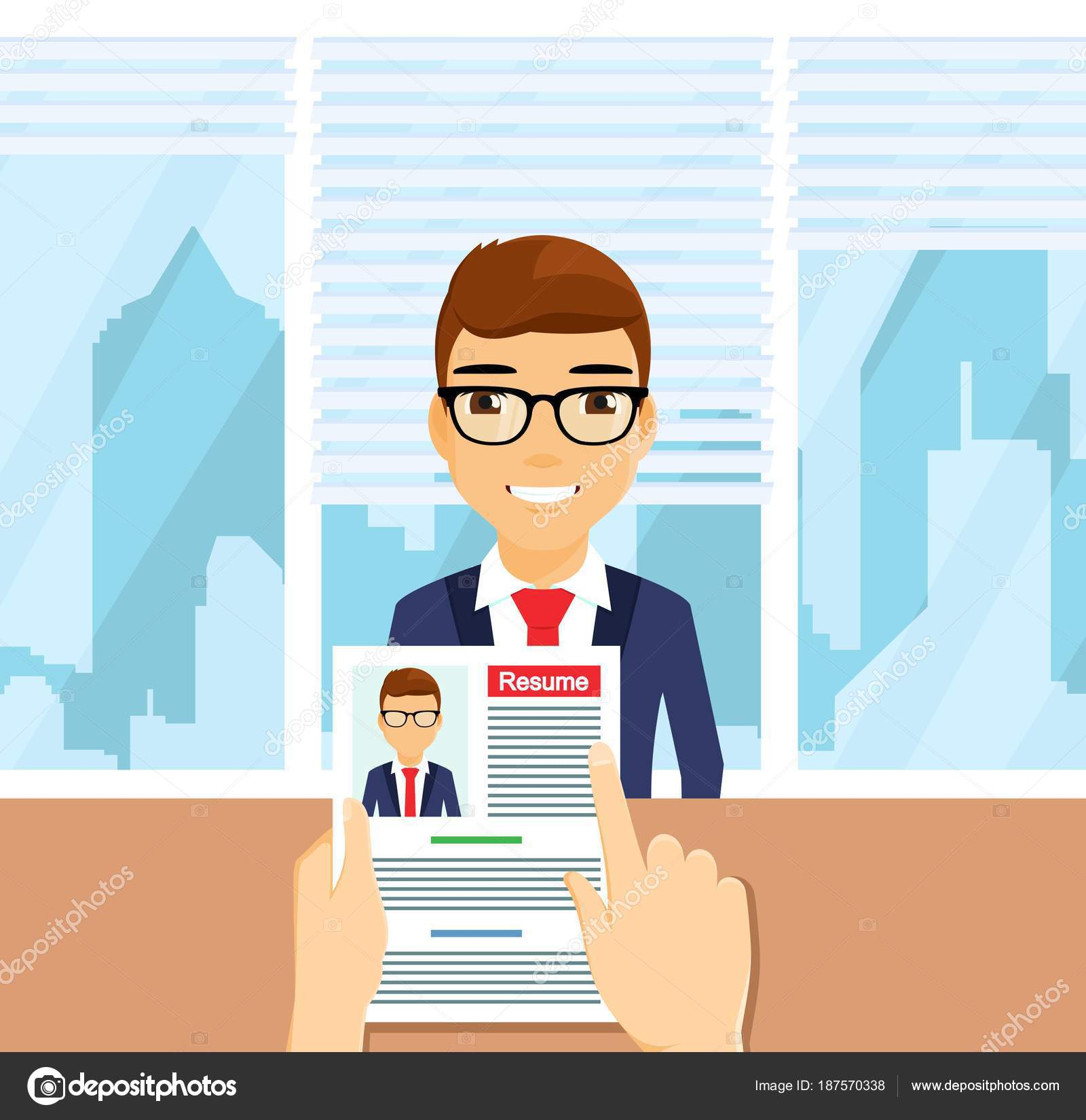 87f02a2ad52 Concepto de negocio. Un hombre joven en un traje de negocios es una  entrevista de trabajo. Búsqueda y contratación de personal. De estilo plano.