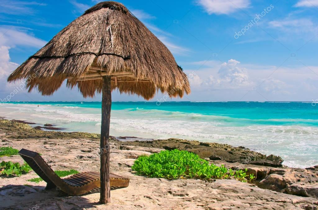 Tropical beach in caribbean sea, Yucatan, Mexico.