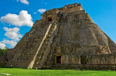 Pyramid of the Magician in Uxmal, ancient Maya city.