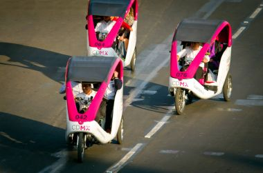 Cycle taxi at Zocalo in Mexico City