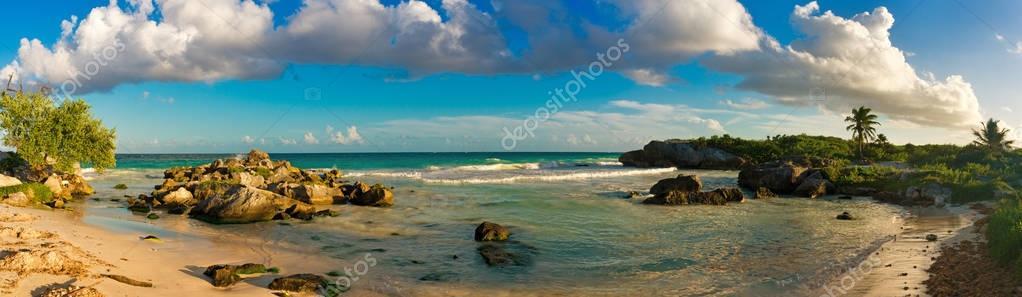 Tropical Sandy Beach on Caribbean Sea