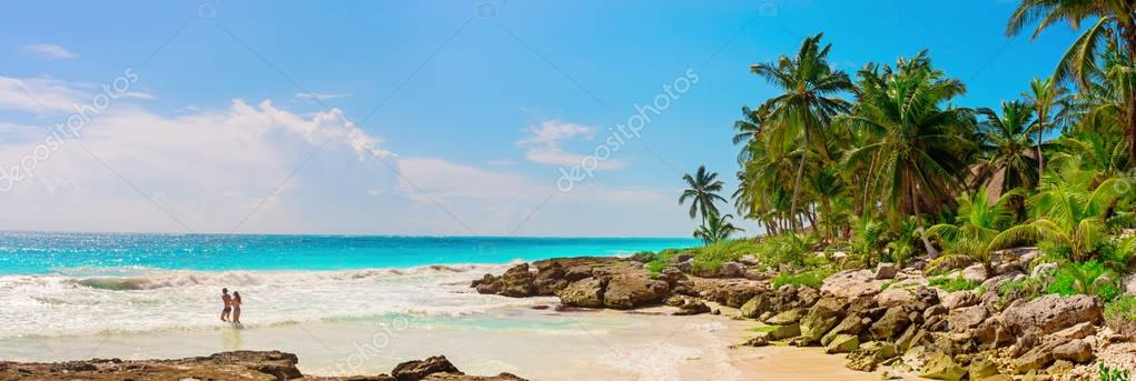 Tropical Sandy Beach on Caribbean Sea.