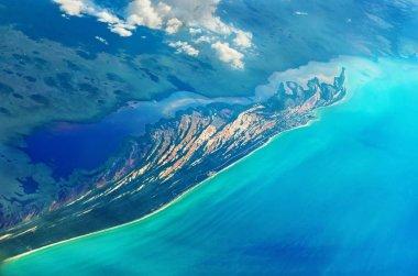 aerial view of the Caribbean coastline near Celestun