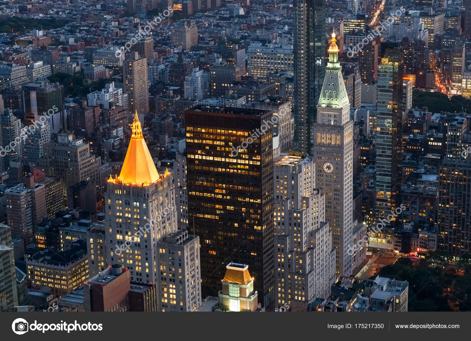 Ciudad Nueva York Noche Antena Vista Del Skyline Manhattan Estados ... 021f50f8c7f