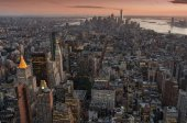 Fotografie New York City v noci, letecký pohled Manhattan Skyline, Usa