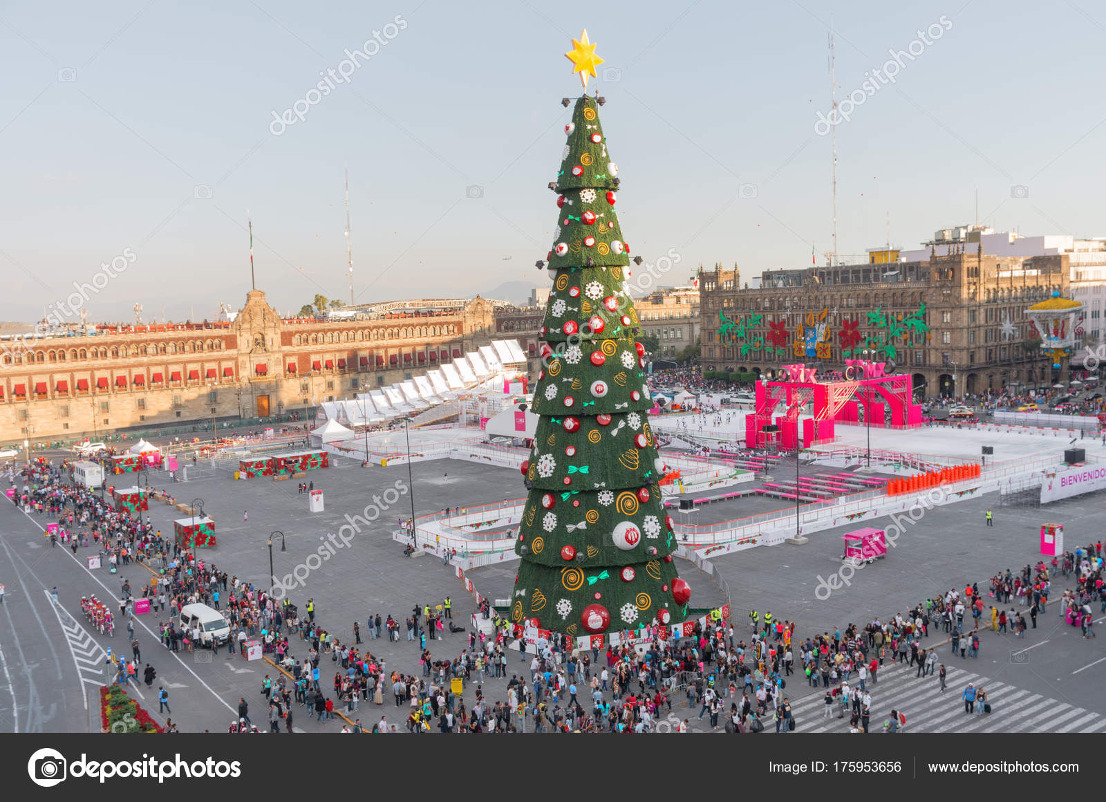 mexico city mexico december 2016 christmas tree decorations ice skating stock photo