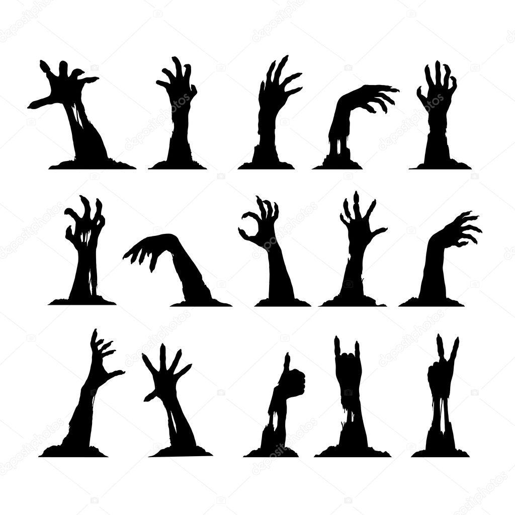 Set Of Zombie Hands Stock Vector Djahan 126368744