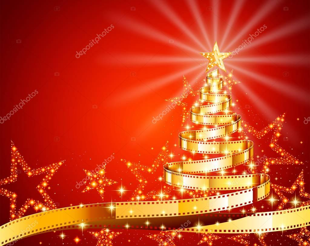 Golden Film Strip Christmas Tree Stock Vector C Djahan 129620604