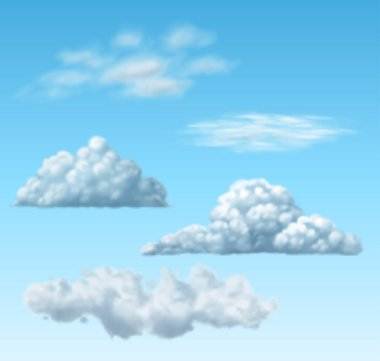 Set of realistic transparent clouds, EPS 10 contains transparency clip art vector