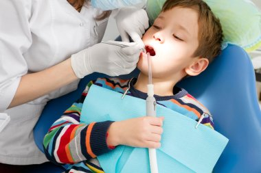 Boy and dentist during dental procedure