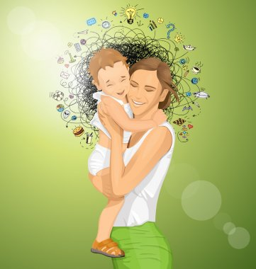 Happy woman with child