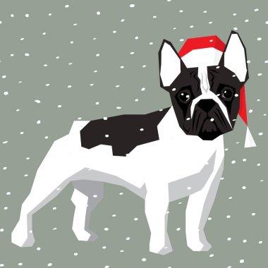 French Bulldog in Christmas Santa hat