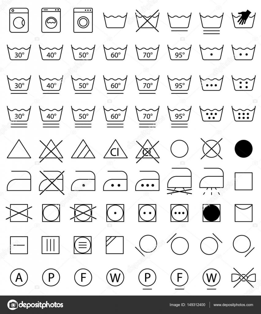 Laundry Icons Washing Symbols Stock Vector Extracoin 149312400