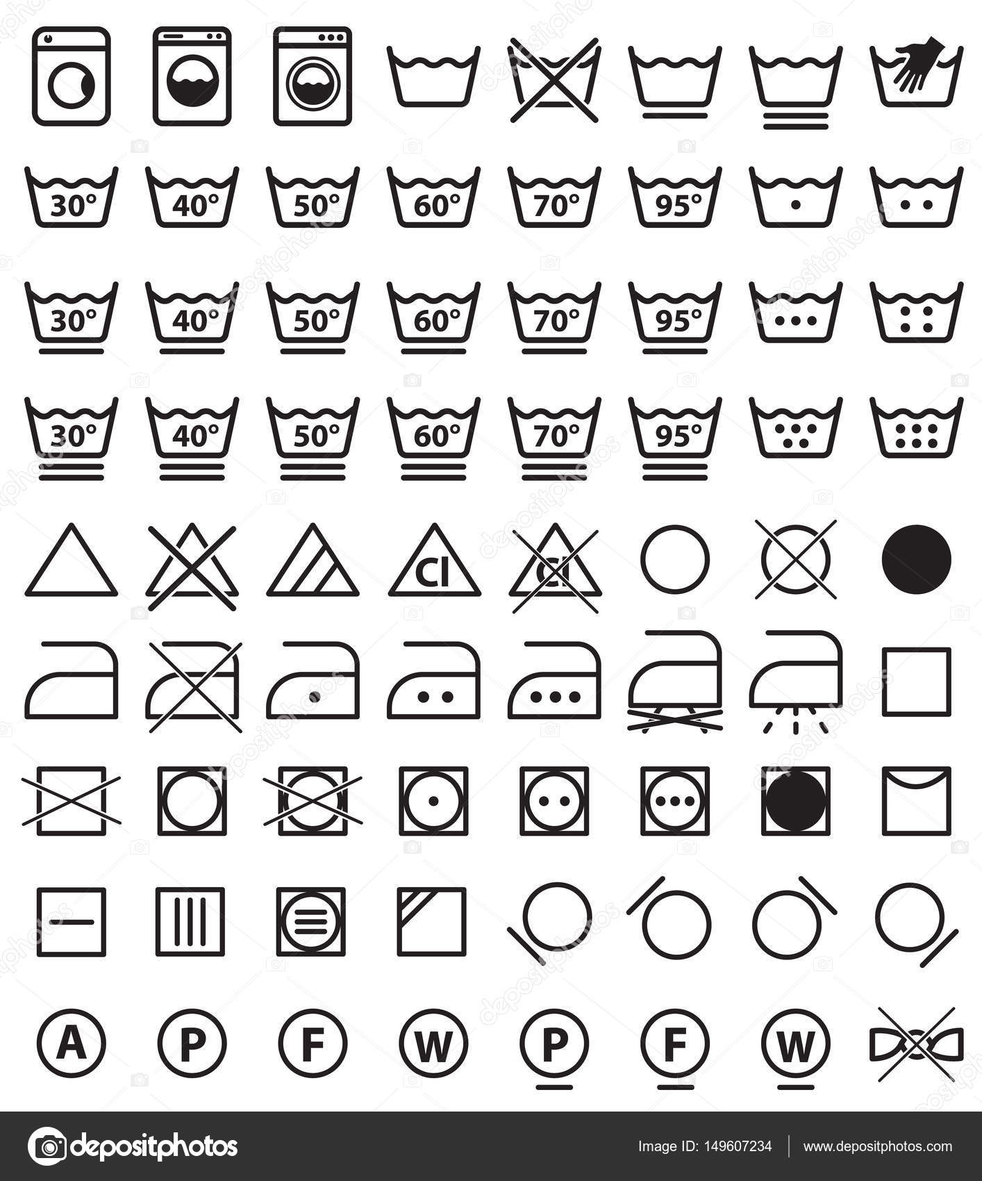 Laundry Symbols Washing Icons Stock Vector Extracoin 149607234