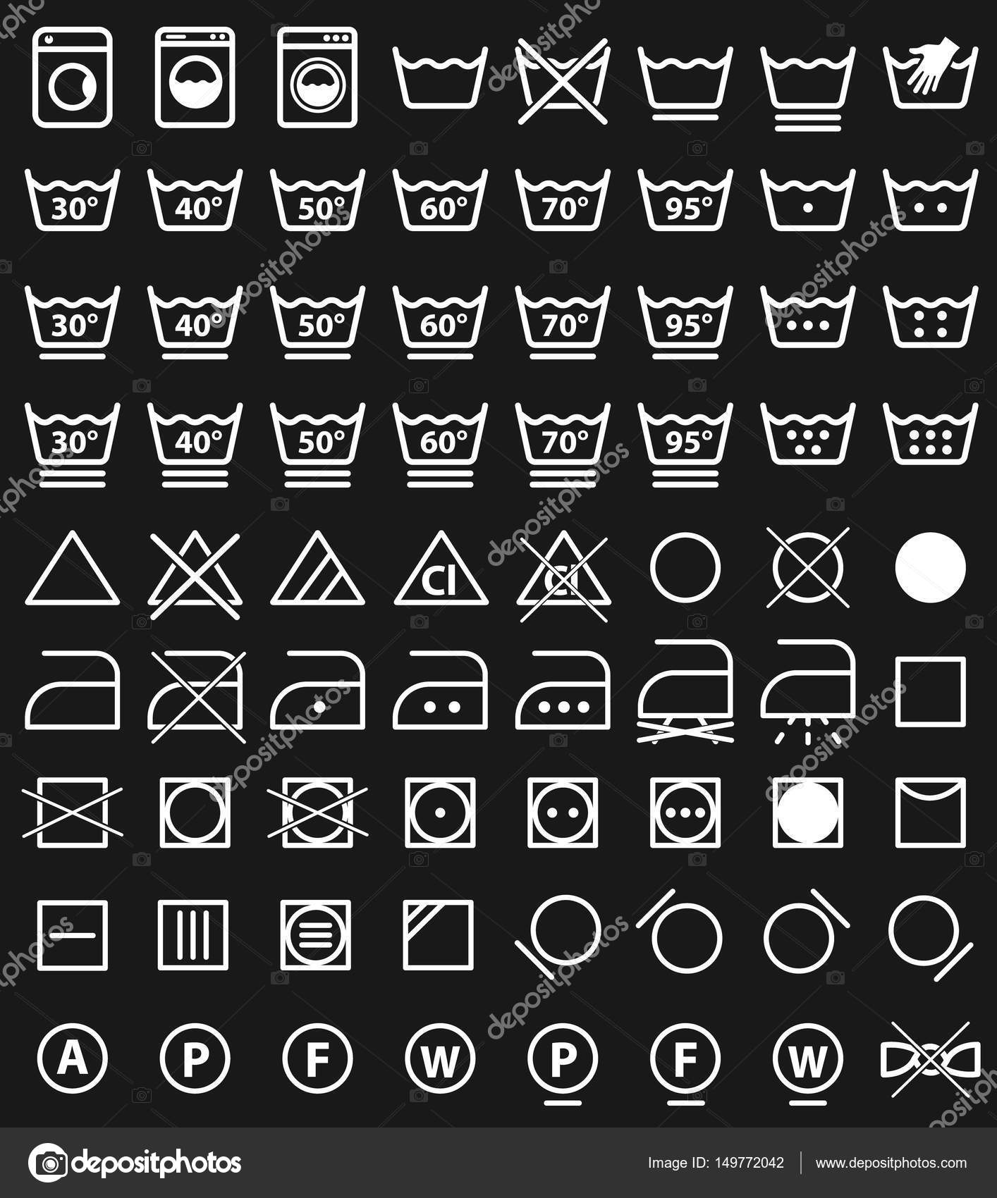 Laundry icons and washing symbols stock vector extracoin 149772042 laundry icons and washing symbols stock vector buycottarizona Gallery