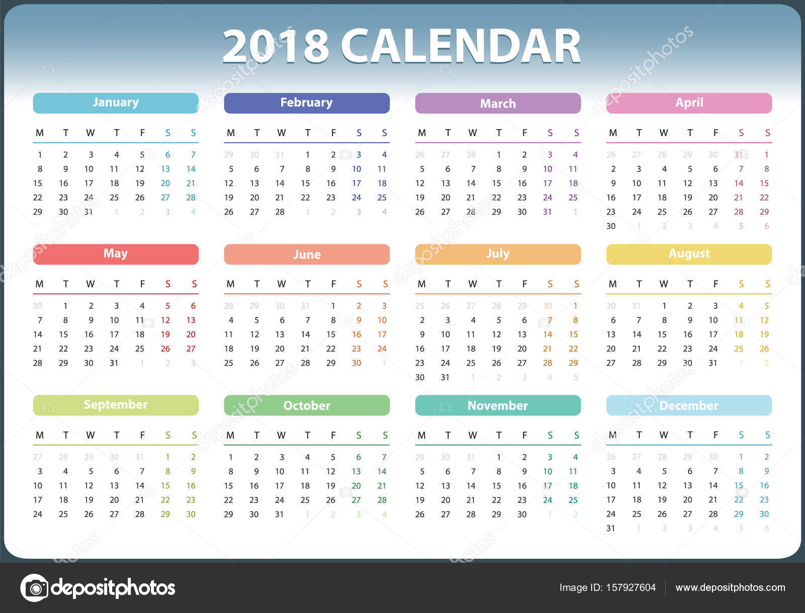 Year Calendar Starting : Calendar for starts monday vector design