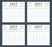 Kalendář planner 2017 v září, říjnu, listopadu a prosinci, týden začíná v pondělí