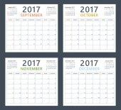 začíná týden kalendáře Plánovač 2017 v září, říjnu, listopadu a prosinci, neděle