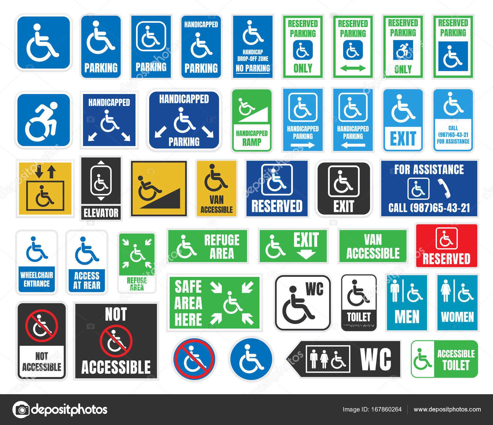 Handicap Schilder Und Etiketten Behinderte Menschen