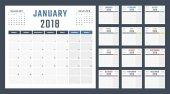 Kalendář pro rok 2018 začíná v pondělí, vektorová design kalendáře rok 2018