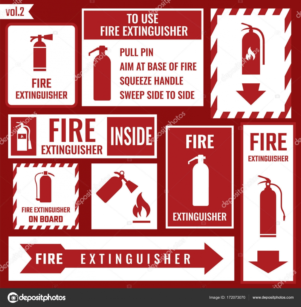 fire extinguisher sign � stock vector 169 extracoin 172073070