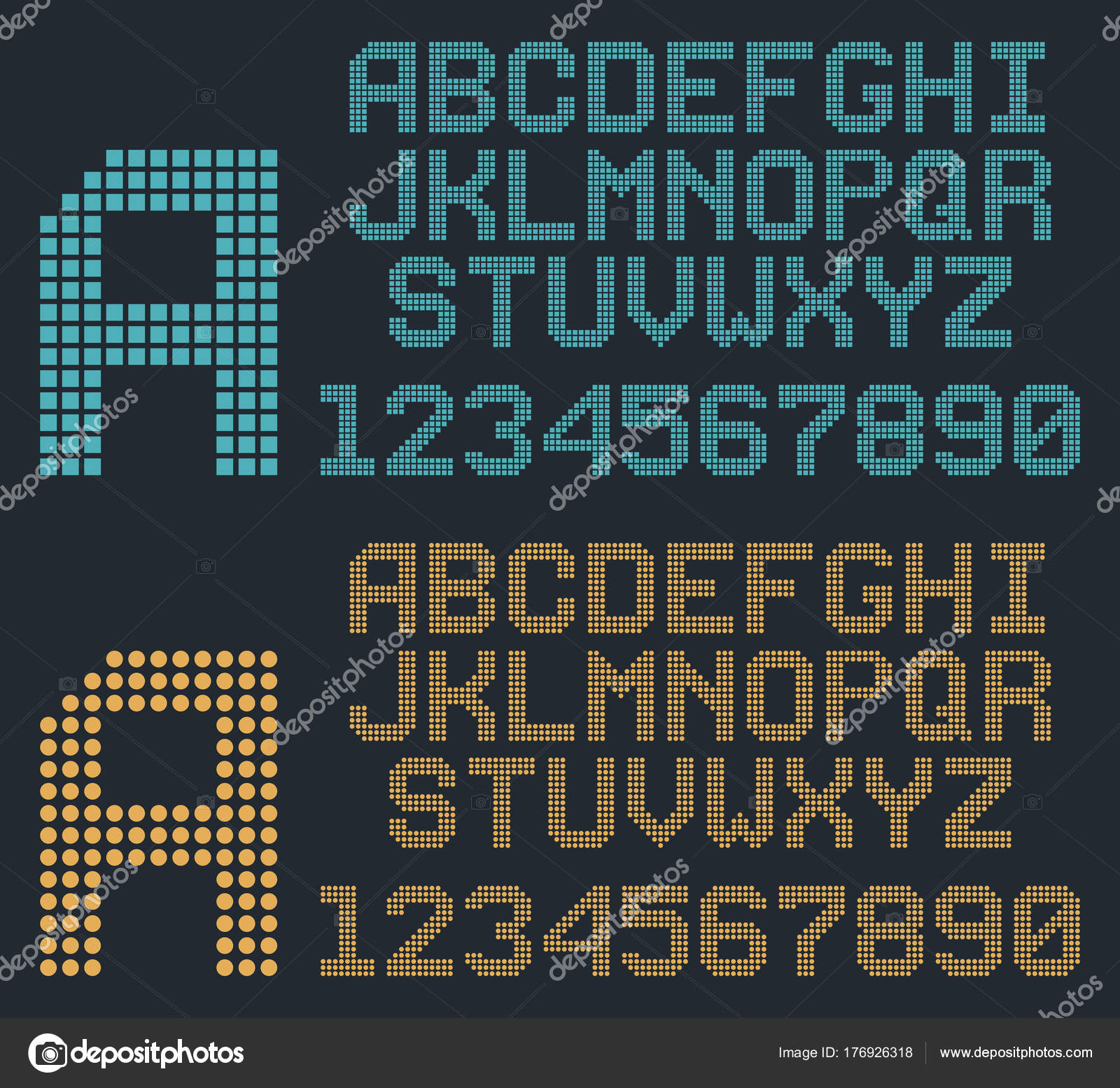 Retro pixel font, rounded alphabet and numbers — Stock