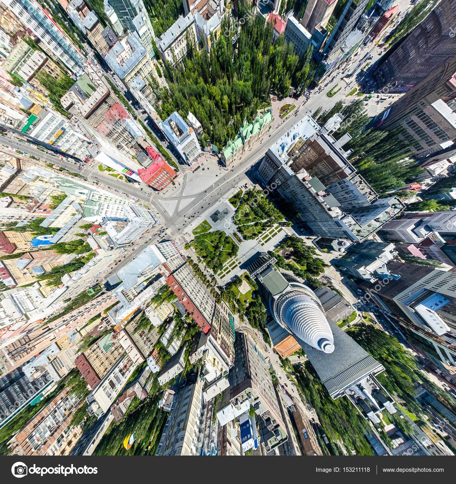 Luchtfoto Stadszicht Met Wegen Huizen En Gebouwen Stockfoto