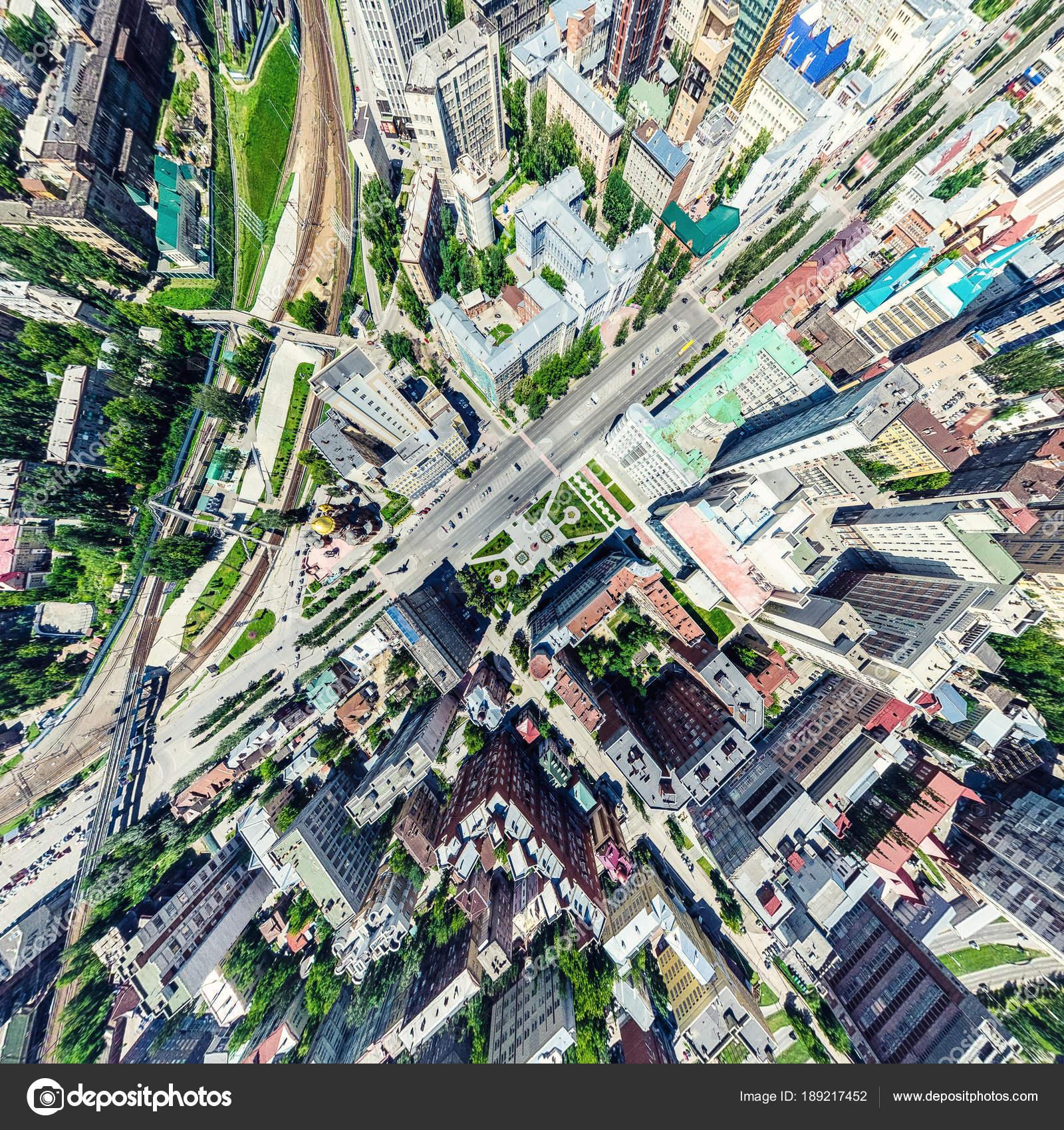 Luchtfoto Stadszicht Met Kruispunten En Wegen Huizen Gebouwen