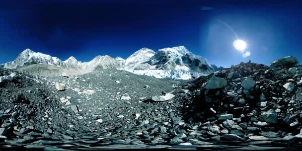 360 vr of the Everest Base camp at Khumbu glacier. Khumbu valley, Sagarmatha national park, Nepal of the Himalayas. EBC track route near Gorak Shep.