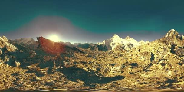 360 vr panoramic view of sunset over Kala Patthar. Mount Everest and Khumbu valley, Nepal of the Himalayas. Gorak Shep