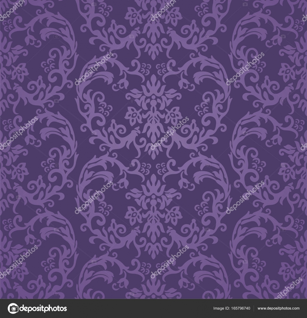 Seamless Luxury Purple Floral Damask Wallpaper Stock Vector