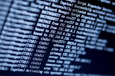 server configuration command lines on a monitor