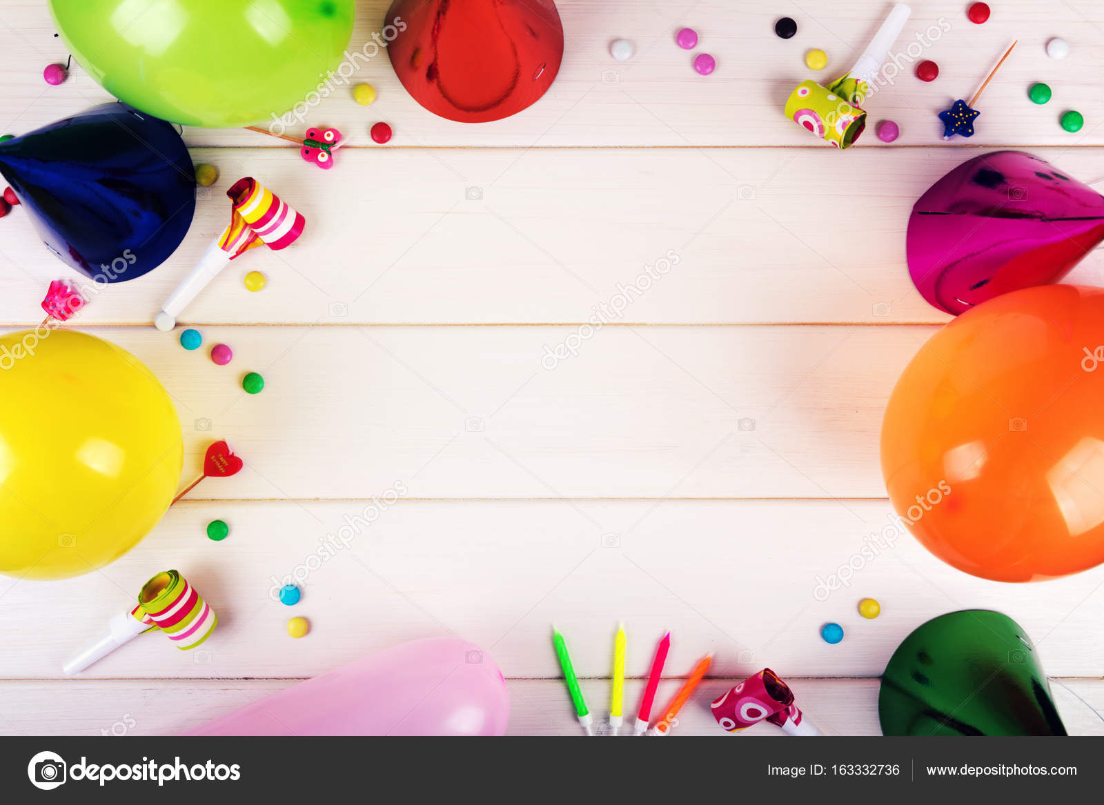 birthday party items on white wooden background top view stock