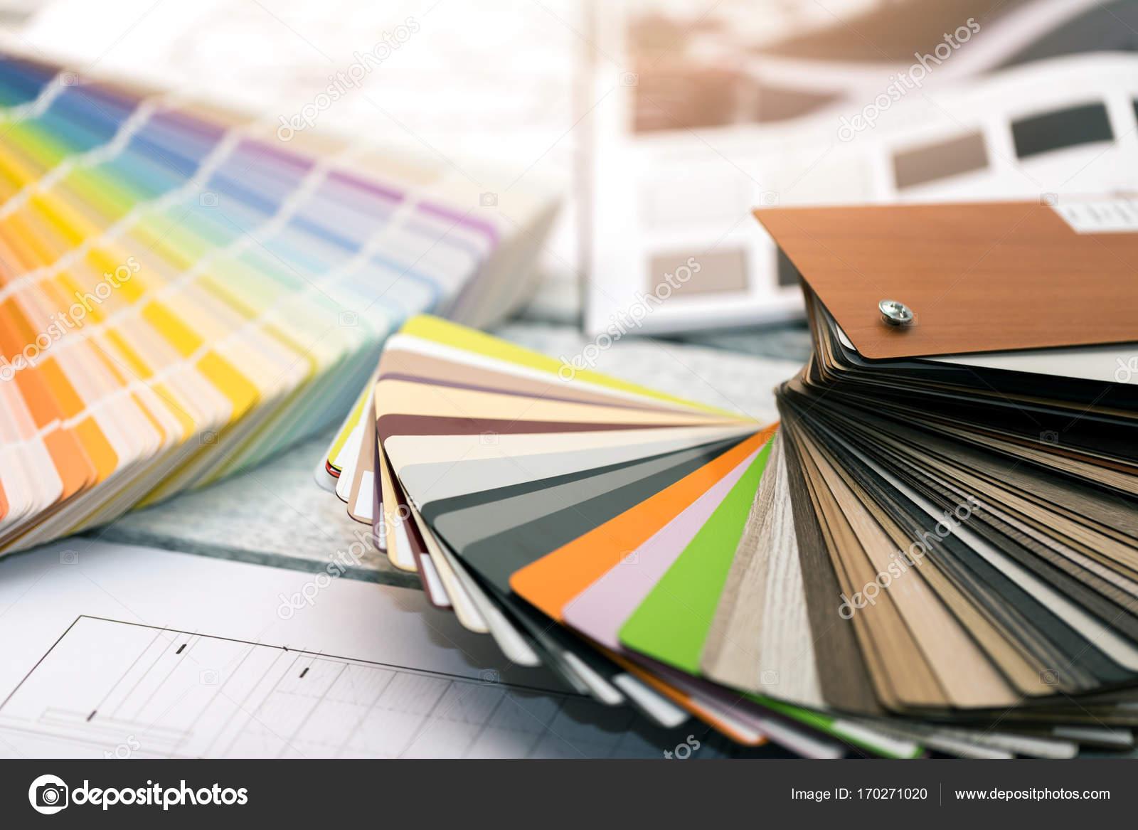 Design de interiores - amostras de material mobiliário e