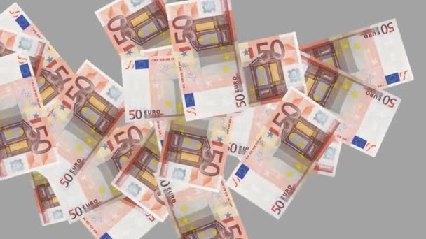50 euro money banknotes rotating on gray background