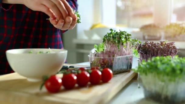 žena připravit čerstvý syrový veganský salát z mikrozeleně a zeleniny