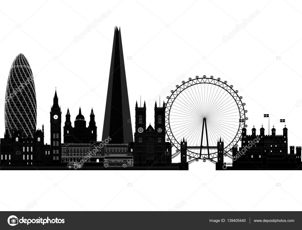 london city skyline silhouette vector illustration. Black Bedroom Furniture Sets. Home Design Ideas
