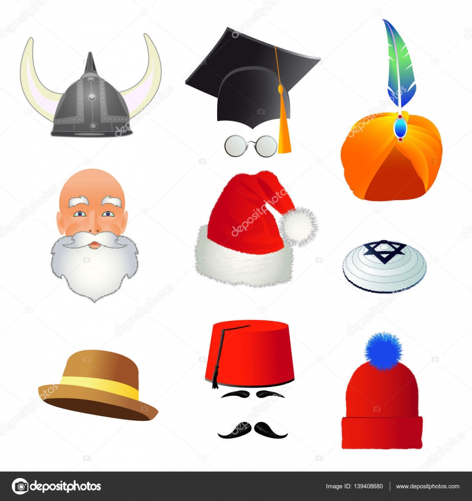 set of cartoon top hats, different professions and nations — stock